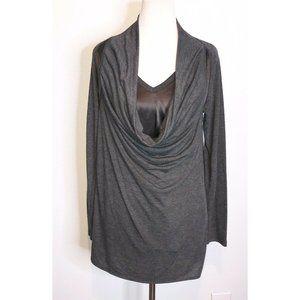 Heather Layered Gray Cowl Neck Silk Top